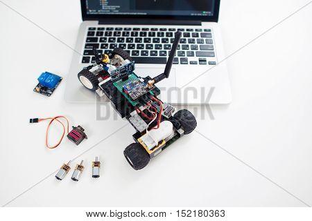 UKRAINE, KHARKIV- OCTOBER 1 , 2016. Rc car made on base Arduino Pro Micro microcontroller and construction Lego Technic. Modern technologies, hobby, electronics concept