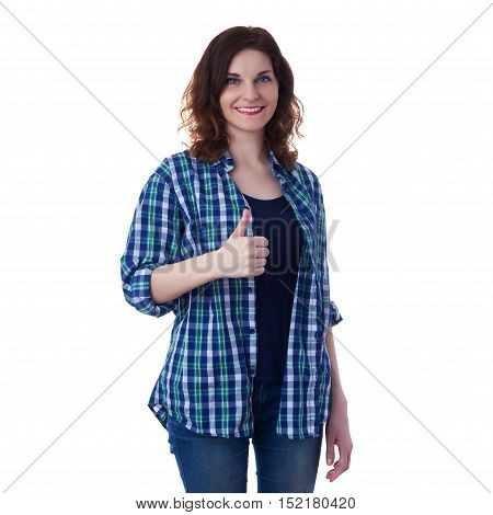 Smiling young woman in casual clothes over white isolated background showing thumb up sign, happy people concept