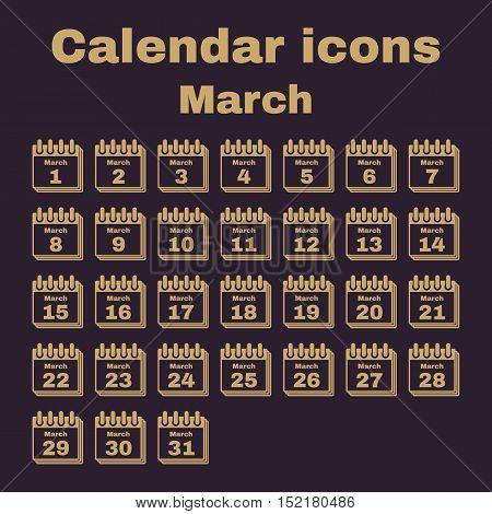 The calendar icon.  March symbol. Flat Vector illustration. Set