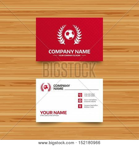 Business card template. Football ball sign icon. Soccer Sport laurel wreath symbol. Winner award. Phone, globe and pointer icons. Visiting card design. Vector