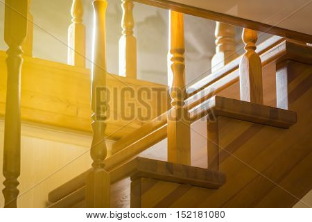 Part of the stairs close-up in a private home.