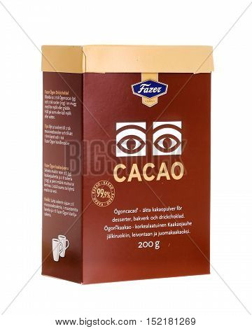 Stockolm ,Sweden - November 5, 2013: A package of 200 g Fazer cocoa powder produced for the Swedish and Finnish markets isolated on white background.
