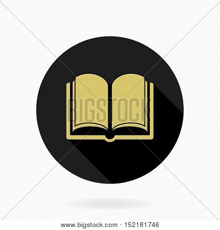 Fine book icon in the circle. Flat design and long shadow. Black and golden colors