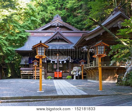 Fujiyoshida Japan - September 2 2016: Niikura Fuji Sengen Shrine at Shiogama Shinto Shrine at Yamanashi Prefecture