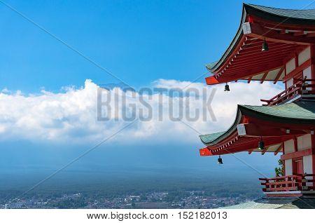 Chureito Pagoda With Mount Fuji. Fujiyoshida, Japan