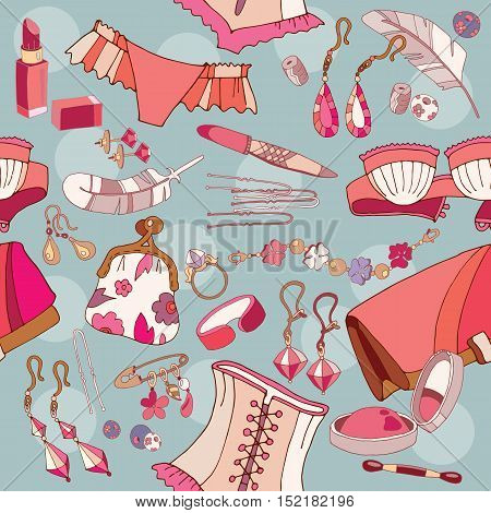 Woman accessories seamless pattern underwear cosmetics jewelry fashion background