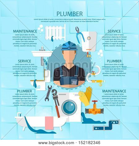 Plumbing service infographics professional plumber repairing bathrooms toilets washing machines vector illustration