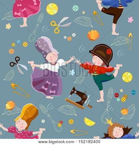 Prince and princess seamless pattern funny kids playing children's theater scrapbooking background