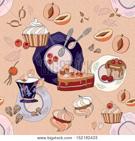Tea seamless pattern sweets saucers cups cute tea party hand drawn vector illustration