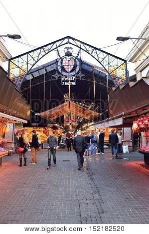 BARCELONA, SPAIN - NOVEMBER 20, 2015: entrance to La Boqueria. The Mercat de Sant Josep de la Boqueria is a large public market and one of the city's foremost tourist landmark in Barcelona.