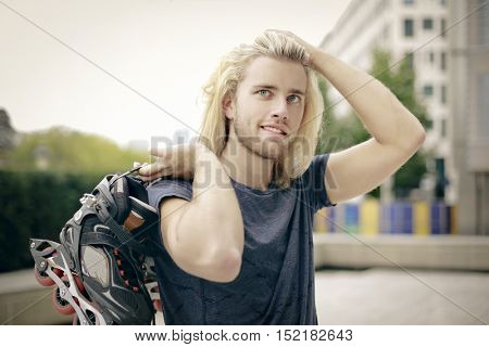 Handsome blonde skater