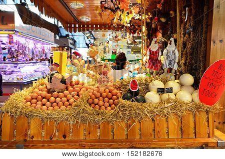 BARCELONA, SPAIN - NOVEMBER 20, 2015: eggs for sale at La Boqueria. The Mercat de Sant Josep de la Boqueria is a large public market and one of the city's foremost tourist landmark in Barcelona.