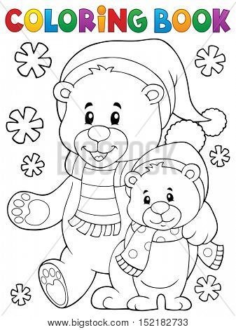Coloring book winter bears theme 1 - eps10 vector illustration.