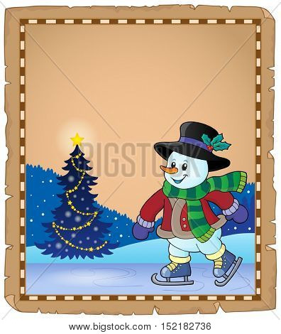 Parchment with skating snowman 1 - eps10 vector illustration.