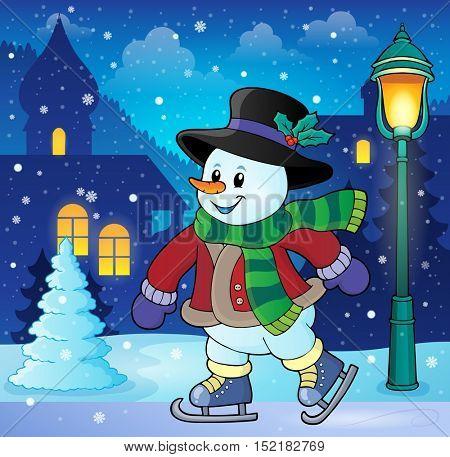 Skating snowman theme image 3 - eps10 vector illustration.