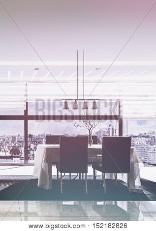 3D rendering of spacious dining room with marble flooring and table facing large window in condo