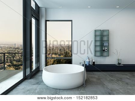 Interior view from luxury bathroom. Includes round bathtub and large windows facing balcony. 3d Rendering.