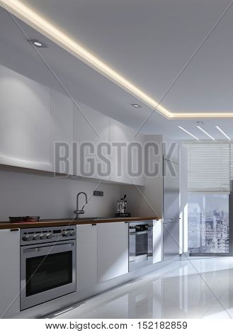 Monochromatic white modern fitted kitchen interior with built in appliances and wall mounted cabinets in a receding view to a floor-to-ceiling window, 3d rendering