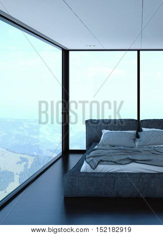 Bedroom with unmade bed and hills in background. Tall glass windows and ambient light. 3d Rendering.