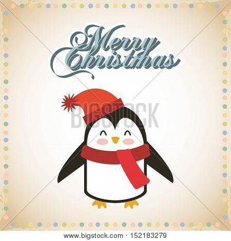 cute animal christmas celebration card vector illustration design