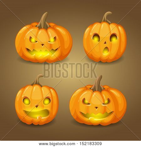 Vector set of pumpkins with lights for design Happy Halloween illustration. Isolated from a background.