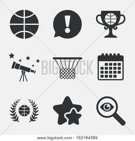 Basketball sport icons. Ball with basket and award cup signs. Laurel wreath symbol. Attention, investigate and stars icons. Telescope and calendar signs. Vector