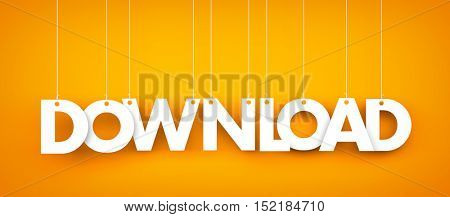 Word Download hanging on orange background. 3d illustration