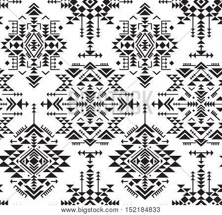 Black and white ethnic seamless pattern with geometric shapes. Tribal ornate abstract endless background. Stylish trendy fabric. Vector illustration.