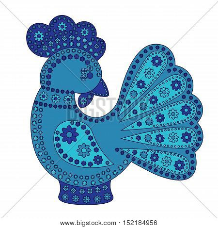 Cartoon stylized rooster with colorfull flowers ornament. Symbol 2017.