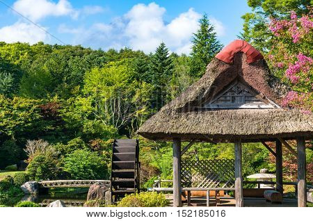 Oshino, Japan - September 2, 2016: Japanese traditional thatch roof farmhouses and pond with crystal clear water and water wheel. Fuji Five Lakes, JapanLakes Japan