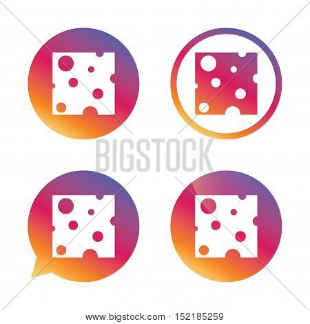 Cheese sign icon. Slice of cheese symbol. Square cheese with holes. Gradient buttons with flat icon. Speech bubble sign. Vector