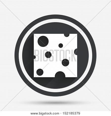 Cheese sign icon. Slice of cheese symbol. Square cheese with holes. Circle flat button with shadow and border. Vector