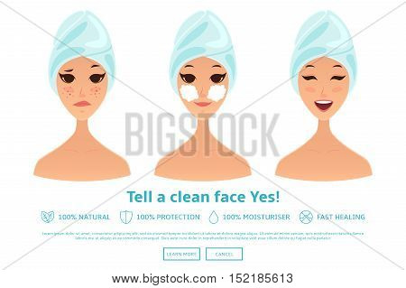 Cartoon girl cleaning and care face. Avatars of woman with different expressions of faces isolated on white background. Vector illustration. Healthy lifestyle concept.