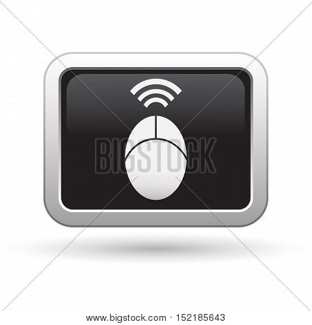 Computer mouse icon on the button. Vector illustration