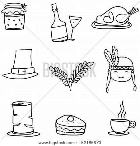 Doodle of thanksgiving set vector art illustration