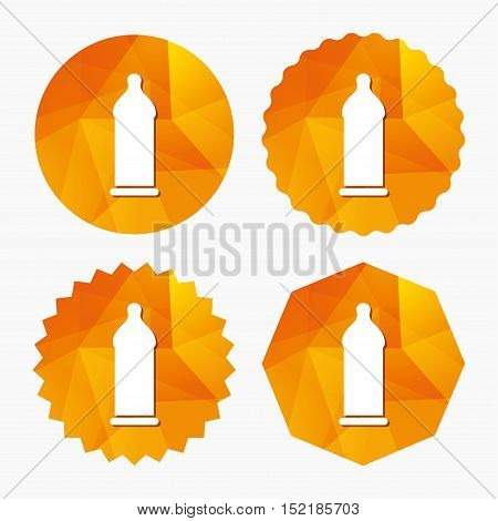 Condom safe sex sign icon. Safe love symbol. Triangular low poly buttons with flat icon. Vector