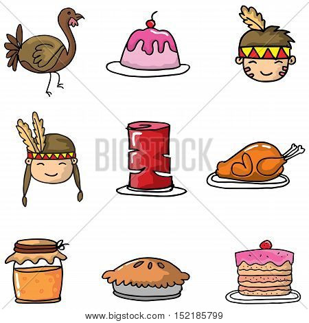 Doodle of object thanksgiving vector art illustration