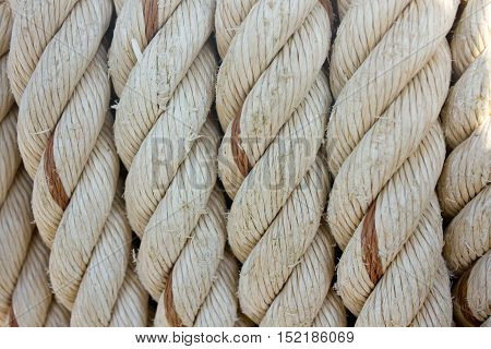 Rope tied on a yacht. Yacht equipment.