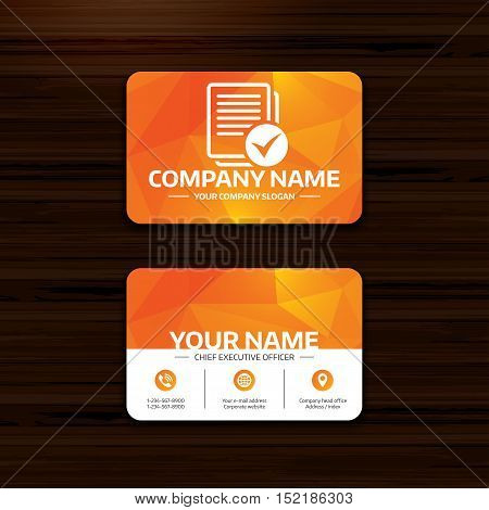 Business or visiting card template. Text file sign icon. Check File document symbol. Phone, globe and pointer icons. Vector