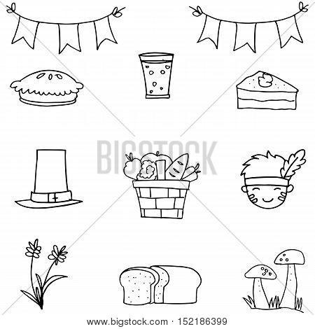 Hand draw thanksgiving set doodles vector art