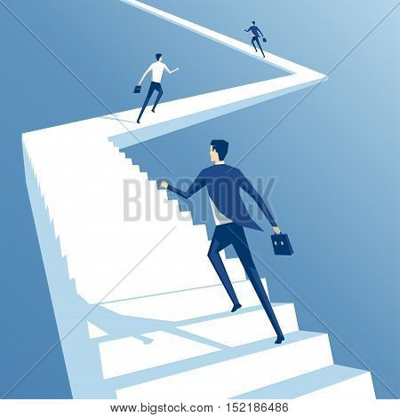 Business people run up the stairs employees climb up the stairs business concept competition and career growth