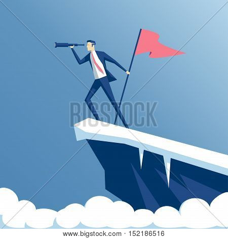 businessman standing on top of a mountain with a flag and looking into the telescope the employee climbed the peak and hoisted the flag business concept success and search opportunities