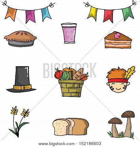 Doodle of object thanksgiving set vector illustration