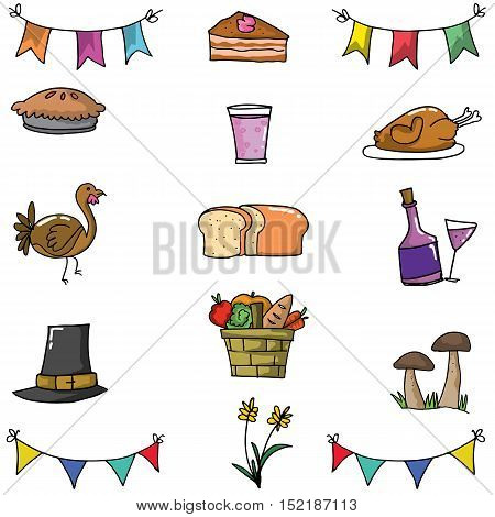 Doodle of thanksgiving vector art illustration collection