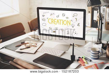 Creation Ideas Light Bulb Imagination Arts Development Concept