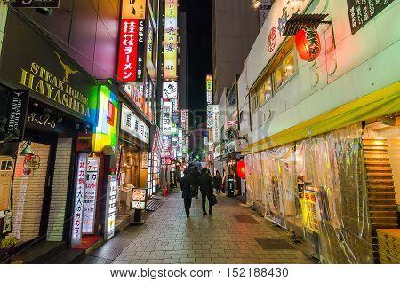 Tokyo Japan - January 25 2016: Street view of night Tokyo Shinjuku
