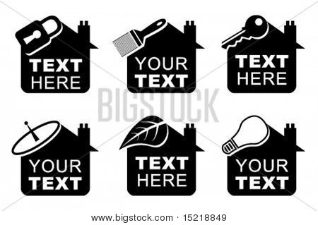 Six vector house icons or logos.