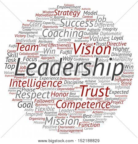 Vector concept or conceptual business leadership or management circle word cloud isolated on background