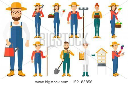 Set of farmers using agricultural tools. Beekeeper working at apiary. Farmer with shovel, rake, pruner, scythe, watering can. Farmer collecting harvest.Vector illustration isolated on white background