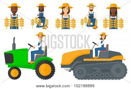 Set of farmers standing in a field. Farmer working on a digital tablet and checking harvest in a wheat field. Farmer using a tractor to plow a field. Vector illustration isolated on white background